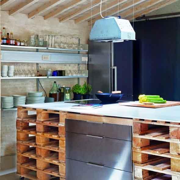 15 Ideias de artesanato com paletes na cozinha 015