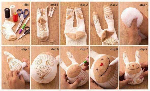 Como fazer um boneco com meias de algodão 010
