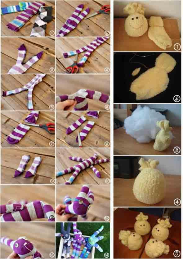 Como fazer um boneco com meias de algodão 011