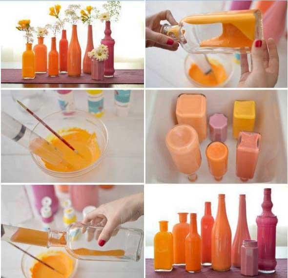 Como pintar garrafas de vidro em casa 005