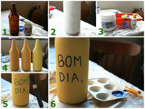 Como pintar garrafas de vidro em casa 015