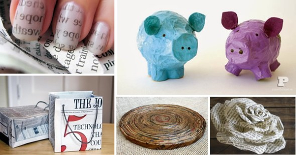 Jornais antigos – Como reciclar com artesanato 014