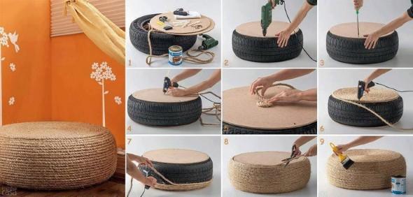 Puff artesanal de pneu reciclado 002