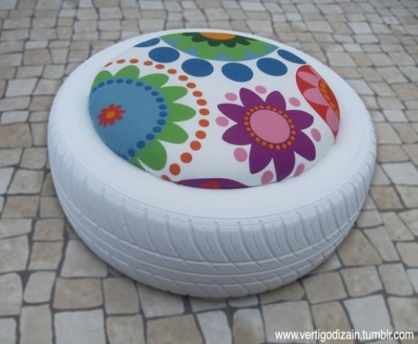Puff artesanal de pneu reciclado 010
