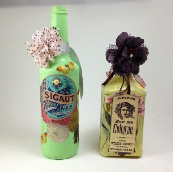 Decupagem em garrafas de vidro 004