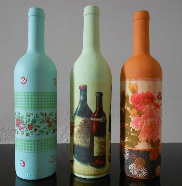 Decupagem em garrafas de vidro 005
