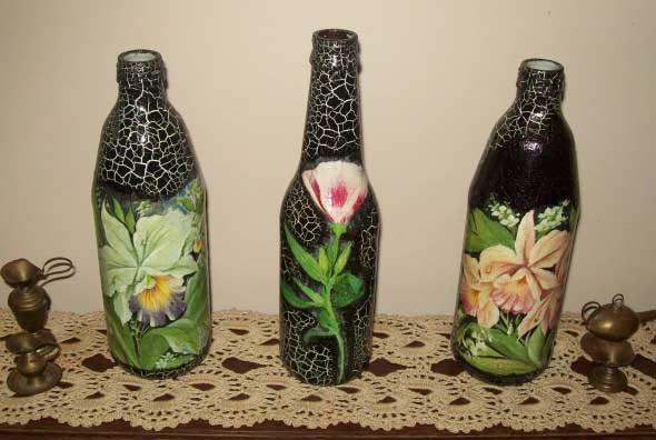Decupagem em garrafas de vidro 009