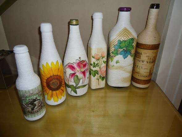 Decupagem em garrafas de vidro 011