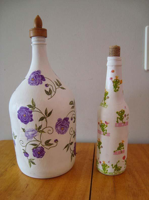 Decupagem em garrafas de vidro 014