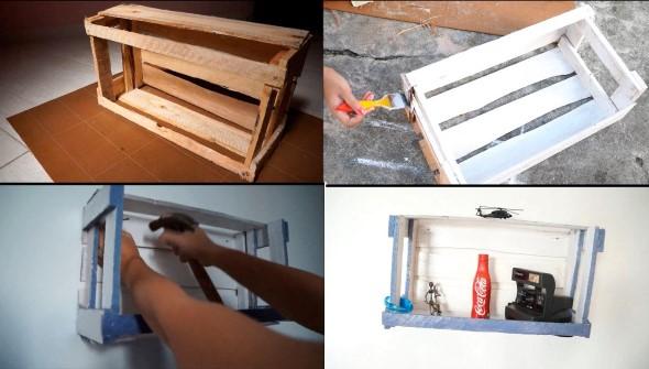 Como fazer nichos com gavetas e caixotes de feira 001