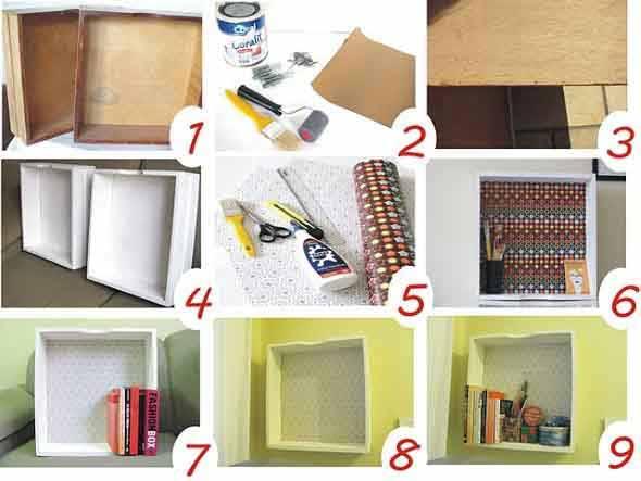 Como fazer nichos com gavetas e caixotes de feira 004