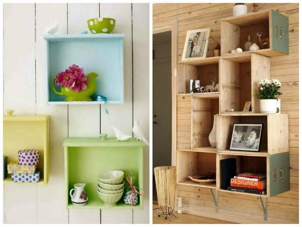 Como fazer nichos com gavetas e caixotes de feira 015