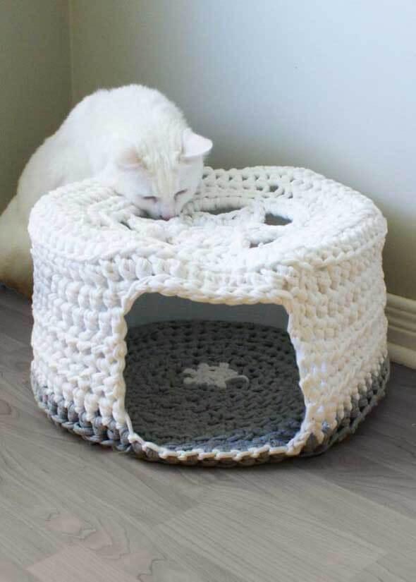 Aprenda a fazer uma cama artesanal para seu gatinho 003