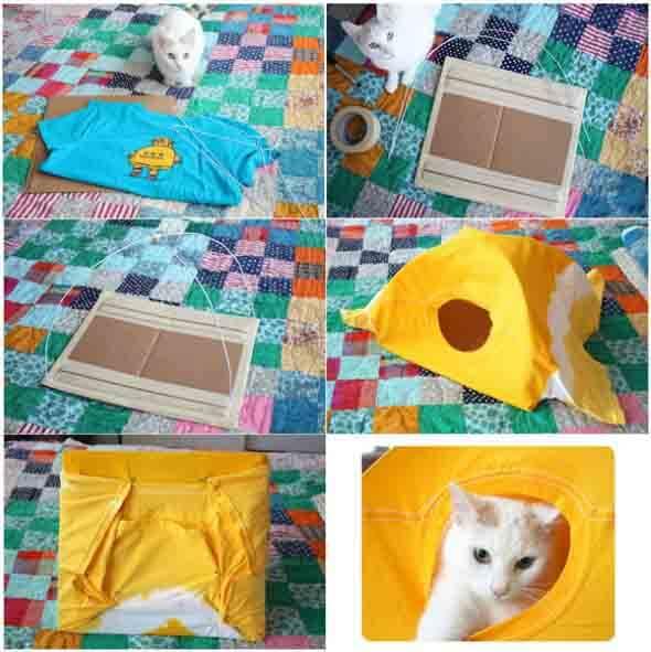 Aprenda a fazer uma cama artesanal para seu gatinho 006