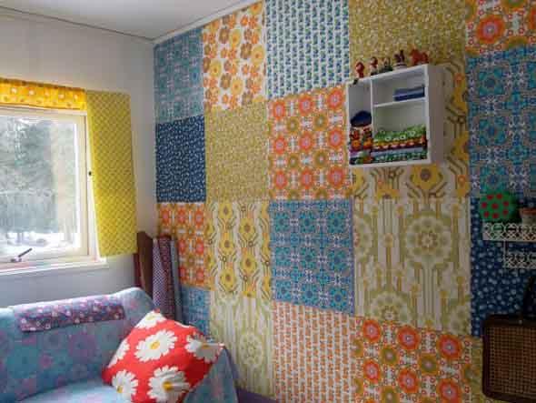 Como decorar as paredes do quarto com tecido 007
