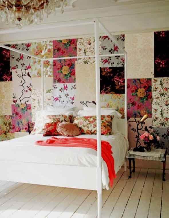 Como decorar as paredes do quarto com tecido 013