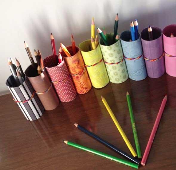 Porta-lápis com material reciclável 006