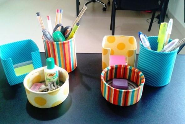 Porta-lápis com material reciclável 008
