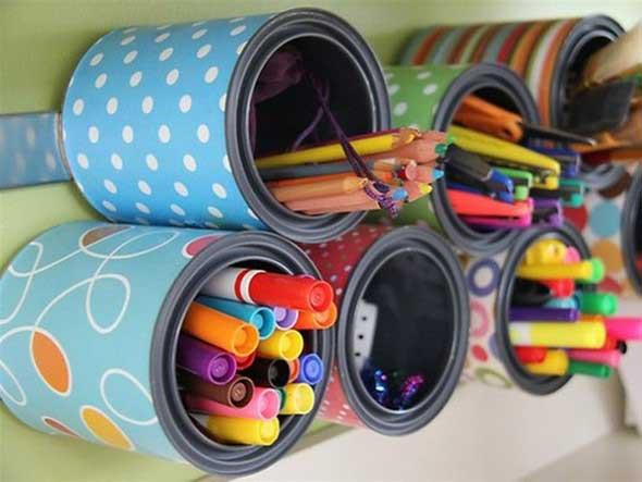 Porta-lápis com material reciclável 009