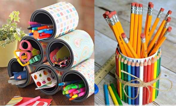 Porta-lápis com material reciclável 010
