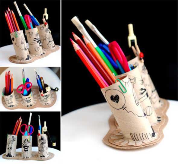 Porta-lápis com material reciclável 013
