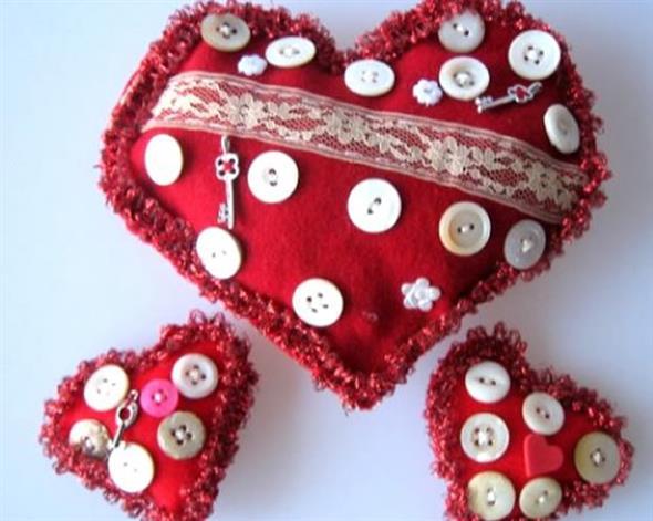 Corações de tecido 015