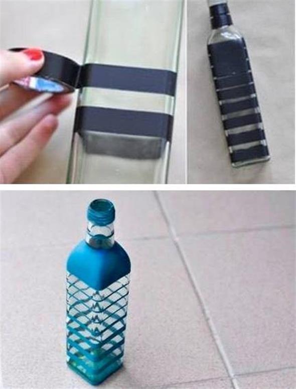 Pintura em garrafas de vidro com fita adesiva 011