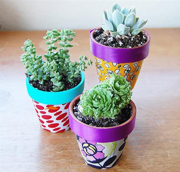 Vasos decorados com artesanato 001