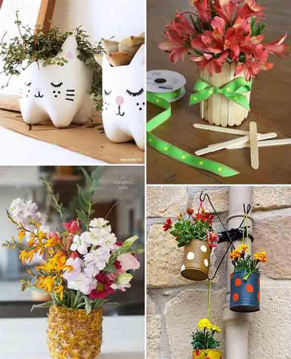 Vasos decorados com artesanato 005
