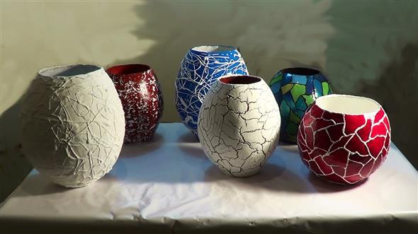 Vasos decorados com artesanato 008