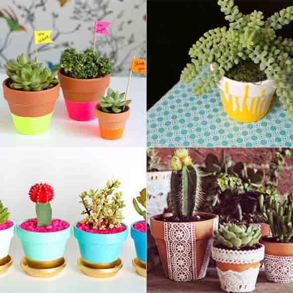 Vasos decorados com artesanato 011