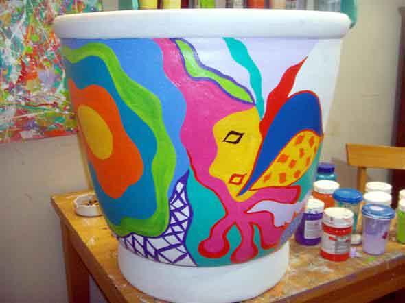 Vasos decorados com artesanato 012