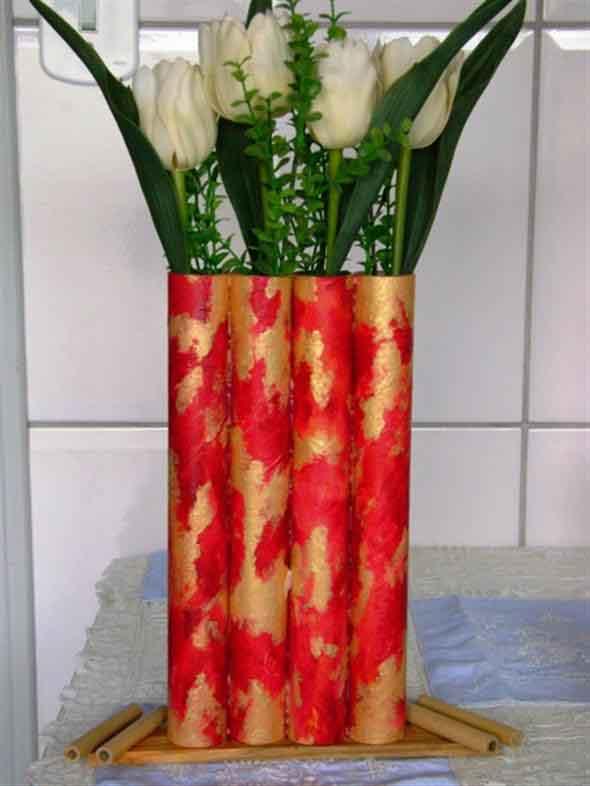Como fazer vasos artesanais com material reciclado 014
