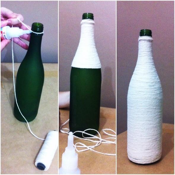 Enfeitar garrafas com linha, sisal e barbante 002