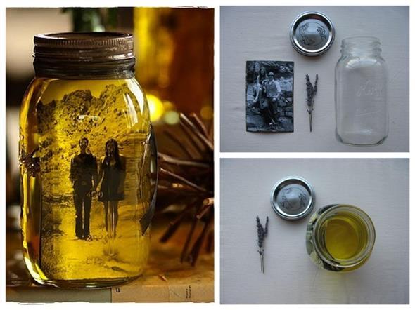 Porta-retrato em pote de vidro 006