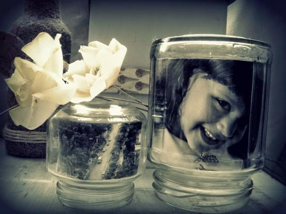 Porta-retrato em pote de vidro 010