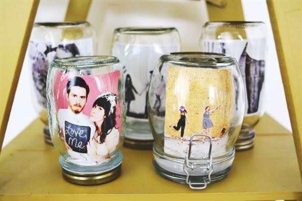 Porta-retrato em pote de vidro 012