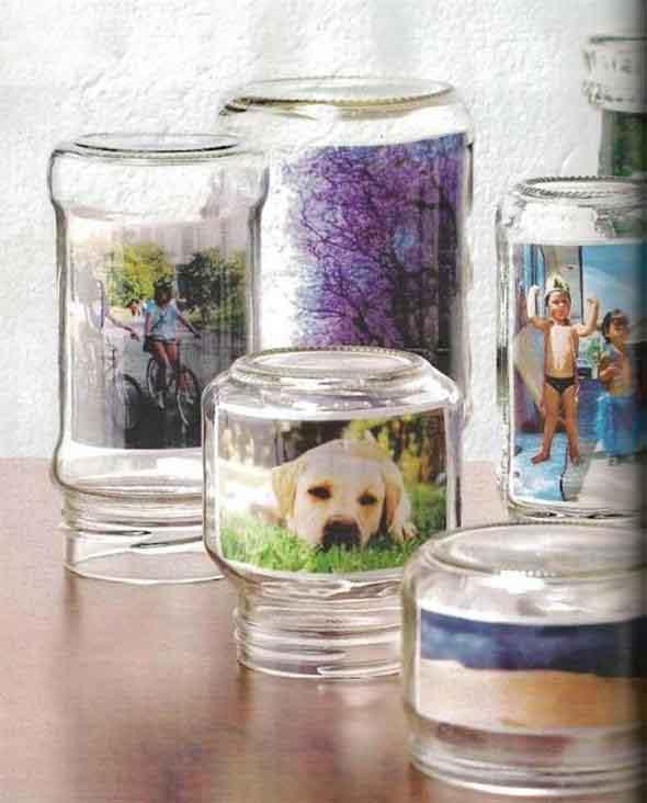 Porta-retrato em pote de vidro 013