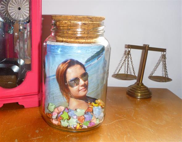 Porta-retrato em pote de vidro 014