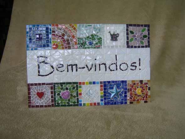Placa de boas vindas artesanal 013