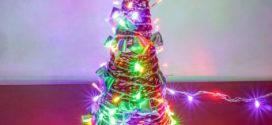 Árvore e bola de natal feito de barbante ou linha crochê