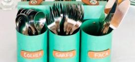 DIY Porta talheres utilizando reciclagem